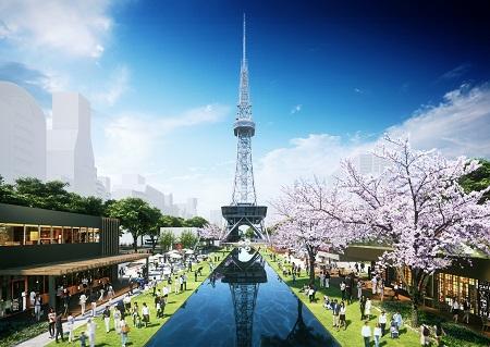 もちの木広場上からテレビ塔を臨む